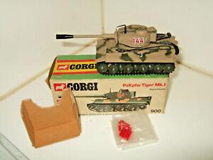 Rare Vintage Corgi 900 Tiger Mk1 in Original Box with Fire Action & shells.