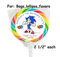 12 Personalized Sonic The Hedgehog Birthday Party Stickers round favors labels