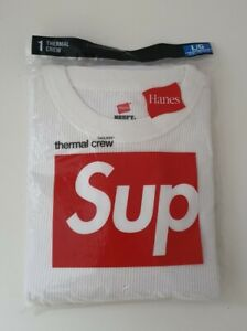New and unopened FW18 Supreme Hanes Thermal natural crew size L large