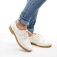 Ladies Flat Lace Up Smart Vintage Oxford Brogues Pumps Womens Smart Shoes