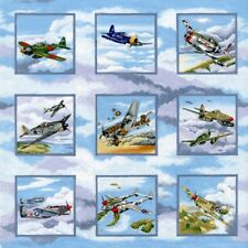 Warbirds WWII Planes Panels Quilting Fabric 50 Panels Each 8cm Square
