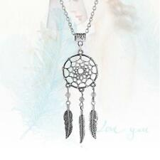 Women Vintage Jewelry Dangling Feather Dream Catcher Pendant Fashion Necklace UP