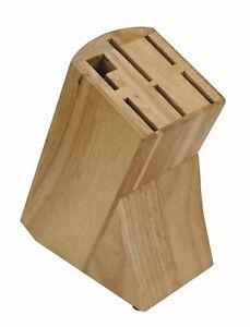 Messerblock ohne Messer Natur Buche Holz für 6 teiliges Messerset  Wetzstahl