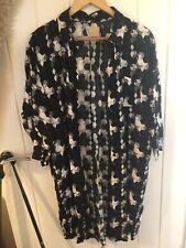 ICHI Black White Graphic Print Shirt Dress Kimono M