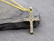 Damen Mädchen Kreuz Zirkonia Halskette Kette Anhänger Kommunion Geschenk in Gold