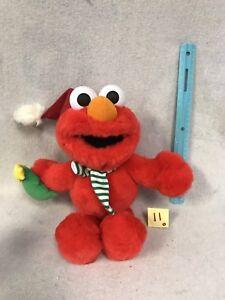 "Fisher Price 2003 Talking Christmas Elmo with Scarf Santa Hat 15"" Plush Doll"