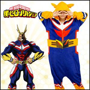 Hot My Hero Academia All Might Cosplay Pajamas Flannel Warm Jumpsuit Sleepwear