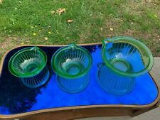 Rare Set of 3 Hocking Depression Glass Wide Ribbed Mixing Bowls Pour Spouts WOW