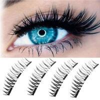 3D Magnetic 4pcs False Eyelashes No Glue Handmade Natural Extension Eye Lashes#C