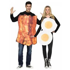 Bacon and Eggs Costumes Adult Funny Couples Halloween Fancy Dress