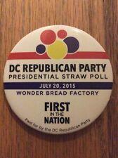 "2015 2.25"" DC Republican Party Presidential Straw Poll Button Dr Ben Carson Wins"