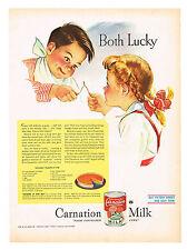 "CARNATION MILK ""BOTH LUCKY"" BUY VICTORY BONDS AD, PUMPKIN PIE RECIPE"