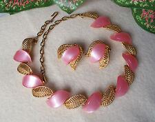 Vintage Pink Thermoset & Filigree Leaf Necklace & Earring Set