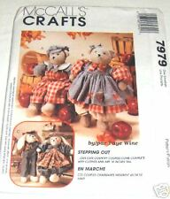 Reduced!!  McCall's 7979 Stepping Out Bear & Bunny Doll Pattern