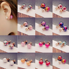1Pair Trendy Women Lady Charming Flower Rhinestone Glass Ear Stud Earrings