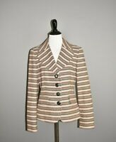 ANN TAYLOR LOFT $99 Beige Striped Tweed Structured Blazer Jacket Size 6