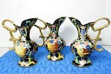 Three H. Bequet Vase Renaissance Quaregnon Hand Painted Gold Ewer, Vase, Belgium