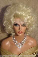Drag Queen Wig Meduim Length in Light Soft Pale Blonde with Bangs and Layers