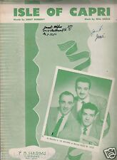 Isle of Capri Sheet Music by Jimmy Kennedy & Will Grosz As Sung by The Gaylords