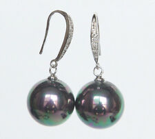 14mm round peacock black south sea shell pearls Earrings silver hook