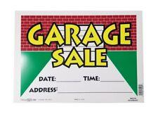 "(Lot of 10) Hillman 14"" x 10"" (Garage Sale) Durable Plastic Sign - White/Multi"