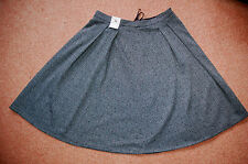 NEW! Sz 14 Smart textured Dark Grey Mini flared Skirt. Work. Gift