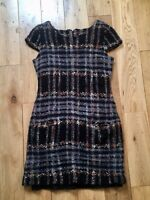 Classic Fitted Check Boucle Wool Mix Tunic Dress Size 8