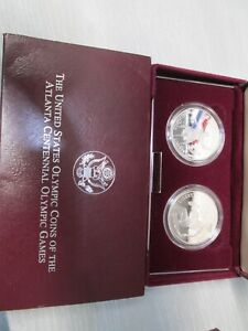 1996 Olympic Wheelchair & Tennis 2 Coin Proof Silver Dollar Commemorative Set