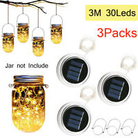 3 Pack 3M 30 LED Warm Solar Mason Jar Lid Fairy String Lights Xmas Garden Decor