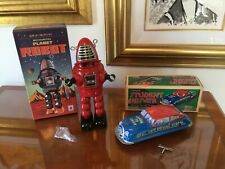 (Lot of 2) WIND UP TIN TOYS -ROBOT AND STUDENT DRIVER CAR