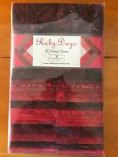 Jelly Roll Ruby Days Red Fabric 100% Quilters Cotton 40 Piece Karot Gems Strips