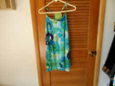 Ladies teal floral T strap chemise nightie beach coverup sundress size M