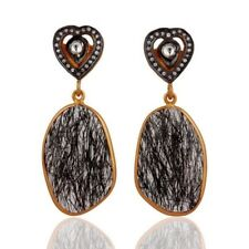 Black Rutilated Quartz CZ 18K Gold Plated 925 Sterling Silver Dangle Earrings