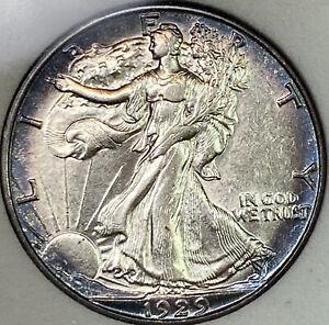 1929-D 50C Walking Liberty Half Dollar UNC BU Uncirculated!  Beautiful Toning!!
