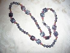 MIRIAML HANDMADE PORCELAIN RHODONITE 22k GOLD BEAD NECKLACE -  One of A Kind
