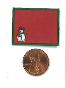 Dollhouse Miniature Christmas Place Mat in Rd with Snowman