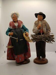 SANTONS de Provence Stamped Claude Ansidei Terracotta Pair, Folk Art Nativity