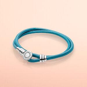 NEW PANDORA Genuine Moments Leather Double Wrap Bracelet Size: 38cm (Turquoise)