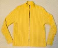 LL Bean Full Zip Cable Knit Sweater Cardigan Mock Neck Womens Large L
