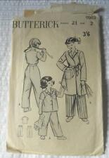 VINTAGE 1950'S BUTTERICK SEWING PATTERN 5983 GIRLS PYJAMAS DRESSING GOWN 2 YR YR