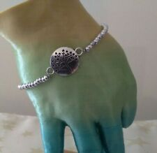 Stretch Silver lined glass Seed Bead and Tree of Life Connector charm Bracelet
