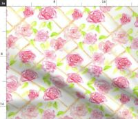 Watercolor Pink Rose Trellis Floral Botanical Spoonflower Fabric by the Yard