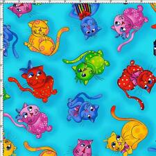 Fat Quarter Cool Cats Toss Sewing Cotton Quilting Fabric Whimsical Cats Blue