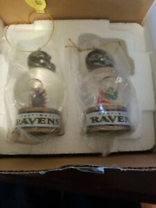 2 Nfl Ravens Snow globes Christmas Tree Ornaments Ms. Klaus and House