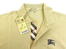 "BURBERRY Brit Men Casual Polo Size Small Beige With 2"" Black Monogram RARE NWT"