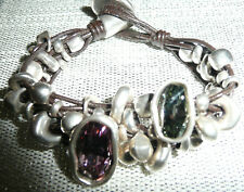 UNO de 50 ~ Gorgeous LADY MARMALADE Pink & Grey Crystal BRACELET Brown leather