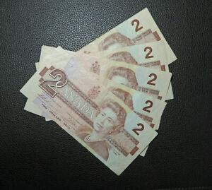 5 pcs 1986 $2 Bank of Canada Banknotes Bills AUB/BBB/BRN/EGN/EGP VF-EF Grades