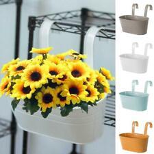 Oval Metal Plant Flower Pot Fence Balcony Garden Hanging Planter Decor Home nola