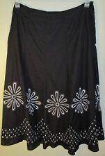 Allison Taylor Black White Embroidery A-Line 100% Cotton Skirt Size 4 Womens EUC
