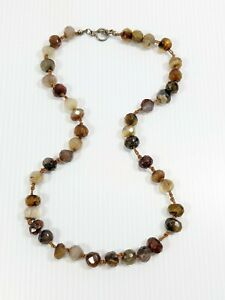 Artisan Brown Cream Faceted Glass Agate Style Bead Knotted Necklace 14225